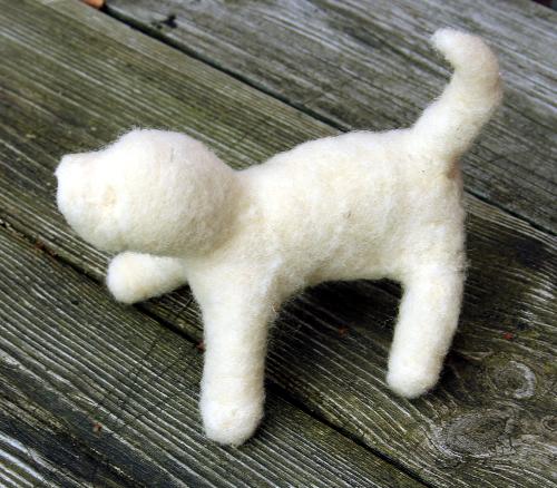 basisvorm voor een hondje van wol